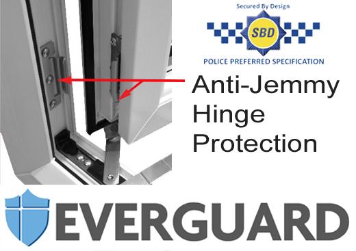 Everguard hinge protection on all Everglade PVCu windows