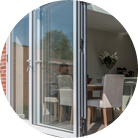 Inward or outward opening aluminium bifolding doors